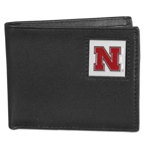 College Bi-fold Wallet - Nebraska Cornhuskers - Our  college Bi-fold wallet is made of high quality fine grain leather and includes credit card slots and photo sleeves. School logo is sculpted and enameled with fine detail on the front panel.  Thank you for shopping with CrazedOutSports.com