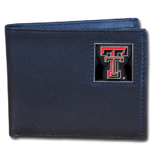 College Bi-fold Wallet Boxed - Texas Tech Raiders - Our  college Bi-fold wallet is made of high quality fine grain leather and includes credit card slots and photo sleeves. School logo is sculpted and enameled with fine detail on the front panel. Packaged in a window box. Thank you for shopping with CrazedOutSports.com
