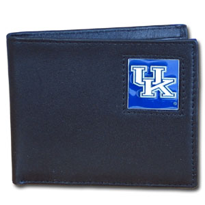 College Bi-fold Wallet - Kentucky Wildcats - Our  college Bi-fold wallet is made of high quality fine grain leather and includes credit card slots and photo sleeves. School logo is sculpted and enameled with fine detail on the front panel.  Thank you for shopping with CrazedOutSports.com
