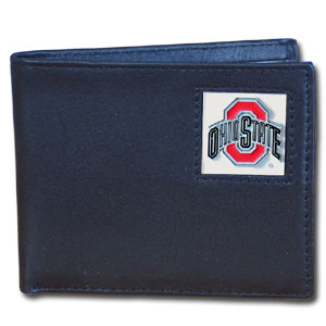 College Bi-fold Wallet Boxed - Ohio State Buckeyes - Our  college Bi-fold wallet is made of high quality fine grain leather and includes credit card slots and photo sleeves. School logo is sculpted and enameled with fine detail on the front panel. Packaged in a window box. Thank you for shopping with CrazedOutSports.com