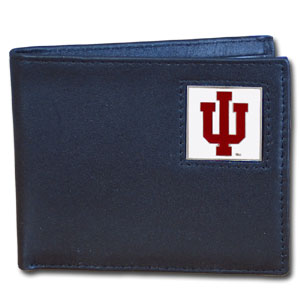 College Bi-fold Wallet Boxed- Indiana Hoosiers - This Indiana Hoosiers college Bi-fold wallet is made of high quality fine grain leather and includes credit card slots and photo sleeves. School logo is sculpted and enameled with fine detail on the front panel. Packaged in a window box. Thank you for shopping with CrazedOutSports.com