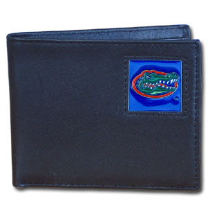 College Bi-fold Wallet - Florida Gators - Our college Bi-fold wallet is made of high quality fine grain leather and includes credit card slots and photo sleeves. School logo is sculpted and enameled with fine detail on the front panel.  Thank you for shopping with CrazedOutSports.com