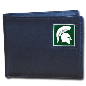 Michigan State Spartans College Bi-fold Wallet - This Michigan State Spartans College Bi-fold Wallet is made of high quality fine grain leather and includes credit card slots and photo sleeves. School logo is sculpted and enameled with fine detail on the front panel.  Thank you for shopping with CrazedOutSports.com