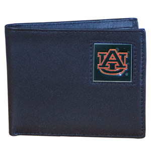 College Bi-fold Wallet - Auburn Tigers - Our  college Bi-fold wallet is made of high quality fine grain leather and includes credit card slots and photo sleeves. Auburn Tigers School logo is sculpted and enameled with fine detail on the front panel.  Thank you for shopping with CrazedOutSports.com
