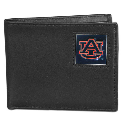 College Bi-fold Wallet Boxed - Auburn Tigers - Our Auburn Tigers college Bi-fold wallet is made of high quality fine grain leather and includes credit card slots and photo sleeves. School logo is sculpted and enameled with fine detail on the front panel. Packaged in a window box. Thank you for shopping with CrazedOutSports.com