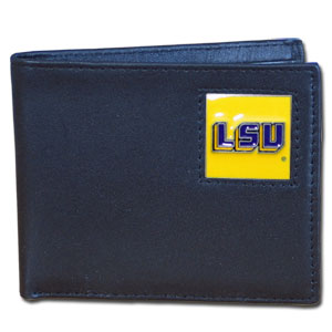 College Bi-fold Wallet Boxed - LSU Tigers - This LSU Tigers Bi-fold wallet is made of high quality fine grain leather and includes credit card slots and photo sleeves. School logo is sculpted and enameled with fine detail on the front panel. Packaged in a window box. Thank you for shopping with CrazedOutSports.com