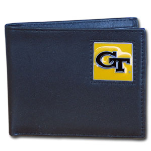College Bi-fold Wallet Boxed- Georgia Tech Yellow Jackets - This Georgia Tech Yellow Jackets college Bi-fold wallet is made of high quality fine grain leather and includes credit card slots and photo sleeves. School logo is sculpted and enameled with fine detail on the front panel. Packaged in a window box. Thank you for shopping with CrazedOutSports.com