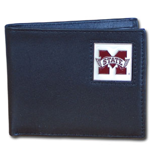 College Bi-fold Wallet Boxed- Mississippi State Bulldogs - Our  college Bi-fold wallet is made of high quality fine grain leather and includes credit card slots and photo sleeves. School logo is sculpted and enameled with fine detail on the front panel. Packaged in a window box. Thank you for shopping with CrazedOutSports.com