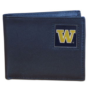 College Bi-fold Wallet Boxed - Washington Huskies - Our  college Bi-fold wallet is made of high quality fine grain leather and includes credit card slots and photo sleeves. School logo is sculpted and enameled with fine detail on the front panel. Packaged in a window box. Thank you for shopping with CrazedOutSports.com