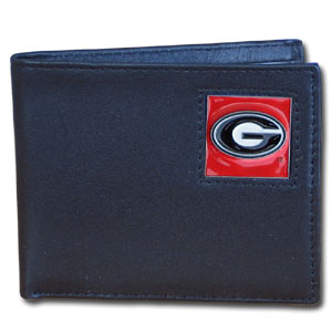 College Bi-fold Wallet - Georgia Bulldogs - This Georgia Bulldogs college Bi-fold wallet is made of high quality fine grain leather and includes credit card slots and photo sleeves. Georgia Bulldogs School logo is sculpted and enameled with fine detail on the front panel.  Thank you for shopping with CrazedOutSports.com
