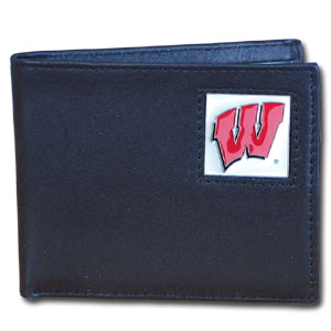 College Bi-fold Wallet -  Wisconsin Badgers - Our  college Bi-fold wallet is made of high quality fine grain leather and includes credit card slots and photo sleeves. School logo is sculpted and enameled with fine detail on the front panel.  Thank you for shopping with CrazedOutSports.com
