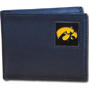 College Bi-fold Wallet -  Iowa Hawkeyes - This Iowa Hawkeyes college Bi-fold wallet is made of high quality fine grain leather and includes credit card slots and photo sleeves. School logo is sculpted and enameled with fine detail on the front panel.  Thank you for shopping with CrazedOutSports.com