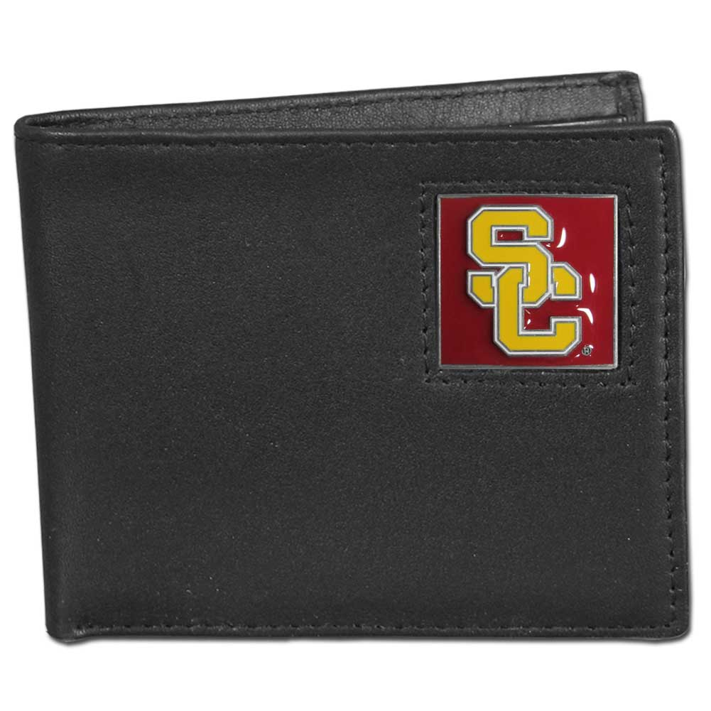 College Bifold Wallet - USC Trojans - Our  college Bi-fold wallet is made of high quality fine grain leather and includes credit card slots and photo sleeves. School logo is sculpted and enameled with fine detail on the front panel.  Thank you for shopping with CrazedOutSports.com