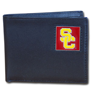 College Bi-fold Wallet Boxed - USC Trojans - Our  college Bi-fold wallet is made of high quality fine grain leather and includes credit card slots and photo sleeves. School logo is sculpted and enameled with fine detail on the front panel. Packaged in a window box. Thank you for shopping with CrazedOutSports.com