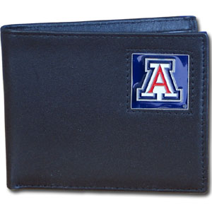 College Bi-fold  Wallet Boxed- Arizona Wildcats - Our  college Bi-fold wallet is made of high quality fine grain leather and includes credit card slots and photo sleeves. Arizona Wildcats School logo is sculpted and enameled with fine detail on the front panel. Packaged in a window box. Thank you for shopping with CrazedOutSports.com