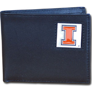 College Bi-fold Wallet Boxed- Illinois Fighting Illini - This Illinois Fighting Illini college Bi-fold wallet is made of high quality fine grain leather and includes credit card slots and photo sleeves. School logo is sculpted and enameled with fine detail on the front panel. Packaged in a window box. Thank you for shopping with CrazedOutSports.com