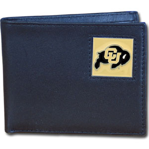 College Bi-fold Wallet - Colorado Buffaloes - Our college Bi-fold wallet is made of high quality fine grain leather and includes credit card slots and photo sleeves. Colorado Buffaloes logo is sculpted and enameled with fine detail on the front panel.  Thank you for shopping with CrazedOutSports.com