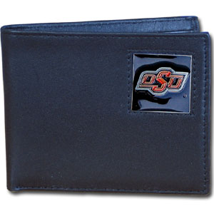 College Bi-fold Wallet Boxed- Oklahoma State Cowboys - Our  college Bi-fold wallet is made of high quality fine grain leather and includes credit card slots and photo sleeves. School logo is sculpted and enameled with fine detail on the front panel. Packaged in a window box. Thank you for shopping with CrazedOutSports.com