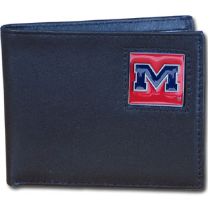 College Bi-fold Wallet - Mississippi Rebels - Our  college Bi-fold wallet is made of high quality fine grain leather and includes credit card slots and photo sleeves. School logo is sculpted and enameled with fine detail on the front panel.  Thank you for shopping with CrazedOutSports.com