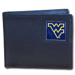 College Bi-fold Wallet - West Virginia Mountaineers - Our  college Bi-fold wallet is made of high quality fine grain leather and includes credit card slots and photo sleeves. School logo is sculpted and enameled with fine detail on the front panel.  Thank you for shopping with CrazedOutSports.com