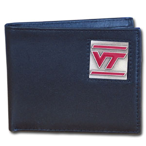 College Bi-fold Wallet Boxed - Virginia Tech Hokies - Our  college Bi-fold wallet is made of high quality fine grain leather and includes credit card slots and photo sleeves. School logo is sculpted and enameled with fine detail on the front panel. Packaged in a window box. Thank you for shopping with CrazedOutSports.com