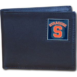 College Leather Bifold - Syracuse Orange - Our  college Bi-fold wallet is made of high quality fine grain leather and includes credit card slots and photo sleeves. School logo is sculpted and enameled with fine detail on the front panel.  Thank you for shopping with CrazedOutSports.com