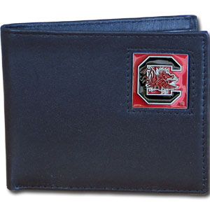 College Bi-fold Wallet Boxed- South Carolina Gamecocks - Our  college Bi-fold wallet is made of high quality fine grain leather and includes credit card slots and photo sleeves. School logo is sculpted and enameled with fine detail on the front panel. Packaged in a window box. Thank you for shopping with CrazedOutSports.com
