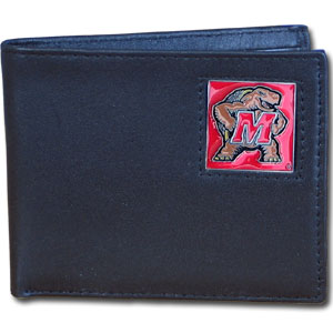 Maryland Terrapins College Bi-fold Wallet Boxed  - This Marykand Terrapins college Bi-fold wallet is made of high quality fine grain leather and includes credit card slots and photo sleeves. School logo is sculpted and enameled with fine detail on the front panel. Maryland Terrapins College Bi-fold Wallet Boxed is packaged in a window box. Thank you for shopping with CrazedOutSports.com