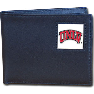 College Bi-fold Wallet Boxed-UNLV Rebels - Our  college Bi-fold wallet is made of high quality fine grain leather and includes credit card slots and photo sleeves. School logo is sculpted and enameled with fine detail on the front panel. Packaged in a window box. Thank you for shopping with CrazedOutSports.com