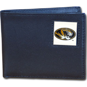 College Bi-fold Wallet - Missouri Tigers - Our  college Bi-fold wallet is made of high quality fine grain leather and includes credit card slots and photo sleeves. School logo is sculpted and enameled with fine detail on the front panel.  Thank you for shopping with CrazedOutSports.com