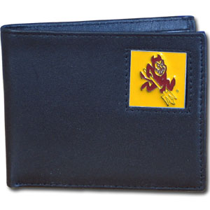 College Bi-fold Wallet -  Arizona State Sun Devils - Our Arizona State Sun Devils college Bi-fold wallet is made of high quality fine grain leather and includes credit card slots and photo sleeves. School logo is sculpted and enameled with fine detail on the front panel.  Thank you for shopping with CrazedOutSports.com