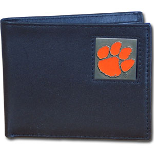 College Bi-fold Wallet Boxed - Clemson Tigers - Our  college Bi-fold wallet is made of high quality fine grain leather and includes credit card slots and photo sleeves. Clemson Tigers logo is sculpted and enameled with fine detail on the front panel. Packaged in a window box. Thank you for shopping with CrazedOutSports.com