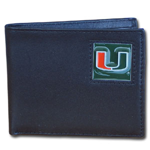 College Bi-fold Wallet Boxed - Miami Hurricanes - This Miami Hurricanes college Bi-fold wallet is made of high quality fine grain leather and includes credit card slots and photo sleeves. School logo is sculpted and enameled with fine detail on the front panel. Packaged in a window box. Thank you for shopping with CrazedOutSports.com