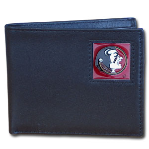 College Bi-fold Wallet - Florida State Seminoles - Our Florida St. Seminoles college Bi-fold wallet is made of high quality fine grain leather and includes credit card slots and photo sleeves. School logo is sculpted and enameled with fine detail on the front panel.  Thank you for shopping with CrazedOutSports.com