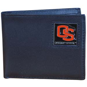 College Bi-fold Wallet Boxed - Oregon State Beavers - Our  college Bi-fold wallet is made of high quality fine grain leather and includes credit card slots and photo sleeves. School logo is sculpted and enameled with fine detail on the front panel. Packaged in a window box. Thank you for shopping with CrazedOutSports.com