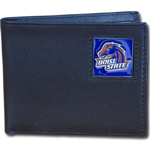 College Bi-fold Wallet - Boise State Broncos - Our college Bi-fold wallet is made of high quality fine grain leather and includes credit card slots and photo sleeves. Boise State Broncos logo is sculpted and enameled with fine detail on the front panel.  Thank you for shopping with CrazedOutSports.com