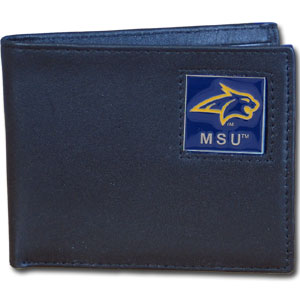 Leather Bi-fold Wallet - Montana St. Bobcats - Our  college Bi-fold wallet is made of high quality fine grain leather and includes credit card slots and photo sleeves. School logo is sculpted and enameled with fine detail on the front panel. Thank you for shopping with CrazedOutSports.com