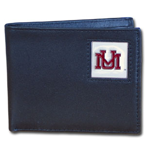 College Bi-fold Wallet Boxed - Montana Grizzlies - Our  college Bi-fold wallet is made of high quality fine grain leather and includes credit card slots and photo sleeves. School logo is sculpted and enameled with fine detail on the front panel. Packaged in a window box. Thank you for shopping with CrazedOutSports.com