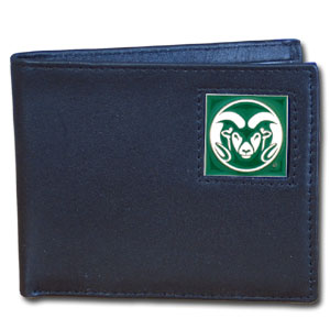 College Leather Bifold - Colorado St. Rams - Our Colorado State Rams college Bi-fold wallet is made of high quality fine grain leather and includes credit card slots and photo sleeves. School logo is sculpted and enameled with fine detail on the front panel.  Thank you for shopping with CrazedOutSports.com