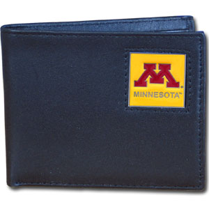 College Leather Bifold - Minnesota Golden Gophers - Our  college Bi-fold wallet is made of high quality fine grain leather and includes credit card slots and photo sleeves. School logo is sculpted and enameled with fine detail on the front panel.  Thank you for shopping with CrazedOutSports.com