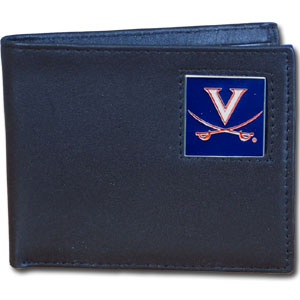 College Leather Bifold - Virginia Cavaliers - Our  college Bi-fold wallet is made of high quality fine grain leather and includes credit card slots and photo sleeves. School logo is sculpted and enameled with fine detail on the front panel.  Thank you for shopping with CrazedOutSports.com