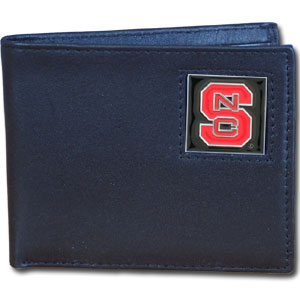 College Bi-fold Wallet Boxed- North Carolina St. Wolfpack - Our  college Bi-fold wallet is made of high quality fine grain leather and includes credit card slots and photo sleeves. School logo is sculpted and enameled with fine detail on the front panel. Packaged in a window box. Thank you for shopping with CrazedOutSports.com