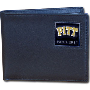 College Bi-fold Wallet Boxed - Pittsburgh Panthers - Our  college Bi-fold wallet is made of high quality fine grain leather and includes credit card slots and photo sleeves. School logo is sculpted and enameled with fine detail on the front panel. Packaged in a window box. Thank you for shopping with CrazedOutSports.com