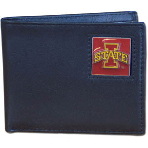 College Leather Bifold - Iowa St. Cyclones - This Iowa Hawkeyes college Bi-fold wallet is made of high quality fine grain leather and includes credit card slots and photo sleeves. School logo is sculpted and enameled with fine detail on the front panel.  Thank you for shopping with CrazedOutSports.com