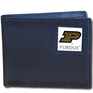 College Leather Bifold - Purdue Boilermakers - Our  college Bi-fold wallet is made of high quality fine grain leather and includes credit card slots and photo sleeves. School logo is sculpted and enameled with fine detail on the front panel.  Thank you for shopping with CrazedOutSports.com
