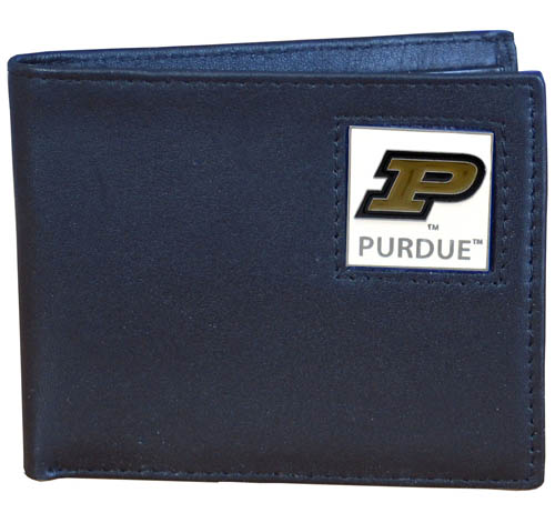 College Bi-fold Wallet Boxed - Purdue Boilermakers - Our  college Bi-fold wallet is made of high quality fine grain leather and includes credit card slots and photo sleeves. School logo is sculpted and enameled with fine detail on the front panel. Packaged in a window box. Thank you for shopping with CrazedOutSports.com