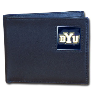 College Bi-fold Wallet Boxed - BYU Cougars - Our  college Bi-fold wallet is made of high quality fine grain leather and includes credit card slots and photo sleeves. BYU Cougars logo is sculpted and enameled with fine detail on the front panel. Packaged in a window box. Thank you for shopping with CrazedOutSports.com