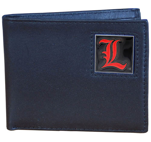 College Bi-fold Wallet Boxed - Louisville Cardinals - This Louisville Cardinals college Bi-fold wallet is made of high quality fine grain leather and includes credit card slots and photo sleeves. School logo is sculpted and enameled with fine detail on the front panel. Packaged in a window box. Thank you for shopping with CrazedOutSports.com