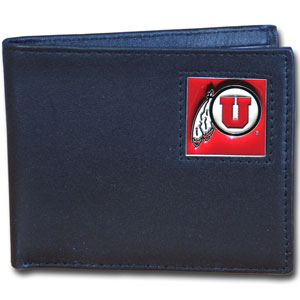Utah Leather Bi-fold - Our  college Bi-fold wallet is made of high quality fine grain leather and includes credit card slots and photo sleeves. School logo is sculpted and enameled with fine detail on the front panel. Thank you for shopping with CrazedOutSports.com