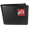 Utah Utes Leather Bi-fold Wallet - Our college Bi-fold wallet is made of high quality fine grain leather and includes credit card slots and photo sleeves. School logo is sculpted and enameled with fine detail on the front panel. Thank you for shopping with CrazedOutSports.com